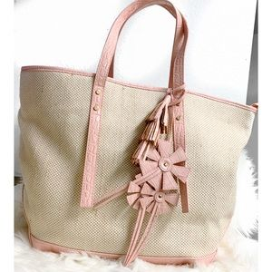 Cynthia rowley straw bag pink tassel